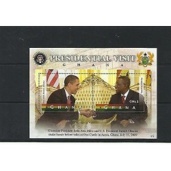 O) 2012 GHANA, PRESIDENT BARACK OBAMA, PRESIDENT ATTA MILLS, SOUVENIR MNH