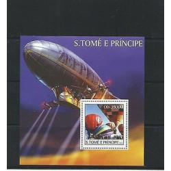 O) 2003 SAO TOME AND PRINCIPE, HOT AIR BALLOON, SOUVENIR MNH
