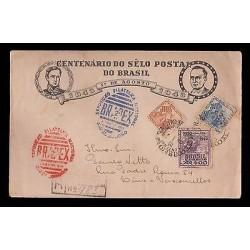 E)1943 BRAZIL, CATTLE, LIVESTOCK, CENTENNIAL POSTAGE STAMP, BRAPEX, HEAD