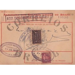 E)1923 BRAZIL,THEASURY OF THE POST OFFICE IN SAO PAULO, TAX DOCUMENT, XF