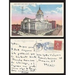 B)1937 USA, TWO CENTS RED WASHINGTON, BUILDING, ARCHITECTURE, ALLEN COUNTRY COUR