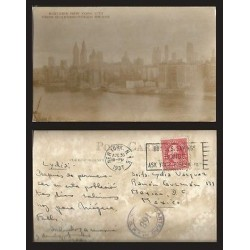B)1937 USA, CITY, TWO CENTS RED WASHINGTON, MIDTOWN NEW YORK CITY FROM QUEENSBO