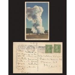 B)1937 USA, PARK, ONE CENT GREEN, BENJAMIN FRANKLIN, BLOCK OF 2, YELLOWSTONE NA