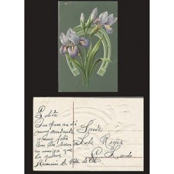 B)1900 MEXICO, FLOWERS, HORSESHOE, TAILLE DOUCE ENGRAVED, POSTCARD