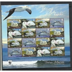 O) 2013 GREAT BRITAIN - TRISTA DA CUNHA, BIRDS HABITAT - WWF, BLOCK MNH
