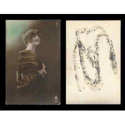 B)1910 CARIBBEAN, PRETTY LADY, SMILE, VINTAGE, POSTCARD