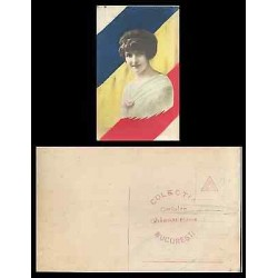 B)1910 ROMANIA, LADY, FLAG, DRAWING, ROMANIAN WOMAN, UNUSED, POSTCARD
