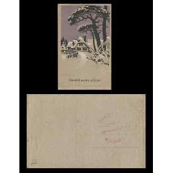 B)1928 YUGOSLAVIA, CHRISTMAS, SNOW, TREES, WINTER, FOR CHRISTMAS GREETINGS, POST