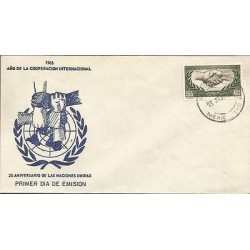 B)1965 MEXICO, UNITED NATIONS, EMBLEM, HANDS, INTERNATIONAL COOPERATION YEAR UN'