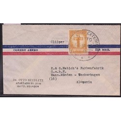 E)1937 ECUADOR, LILI OF QUITO ORANGE, AIR MAIL, CIRCULATED COVER FROM QUITO