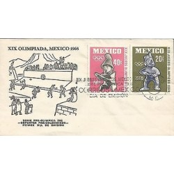 B)1965 MEXICO, SPORTS, SCULTURE, ANCIENT, PRE OLYMPIC SET, FDC