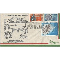 B)1965 MEXICO, PRE OLYMPICS, XIX OLYMPIC GAMES 68´, SPORTS, SCULTURE, ANCIENT,