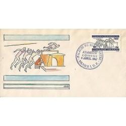 B)1967 MEXICO, ATAMEX 67, XIX OLYMPIC GAMES 68`, JUMP, AIRMAIL DIEGO RIVERA DES