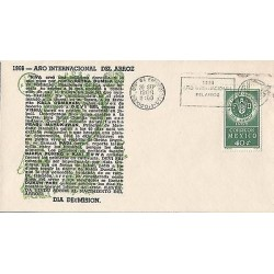B)1966 MEXICO, EAR OF RICE, RICE, LETTERS, INTERNATIONAL YEAR OF RICE, FDC