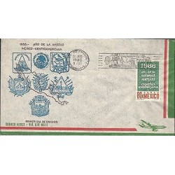 B)1966 MEXICO, COUNTRIES, FRIENDS, SHIELDS, MAP, YEAR OF FRIENDSHIP, MEXICO AND