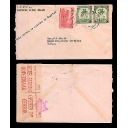 E)1942 CONGO, TIGER, PALMS STRIP OF 2, CENSOR SHIP, CIRCULATED COVER TO USA