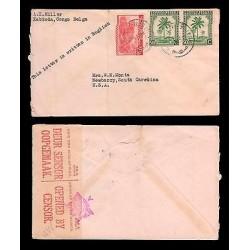 E)1942 CONGO, TIGER, PALMS STRIP OF 2, CENSOR SHIP, CIRCULATED COVER TO USA