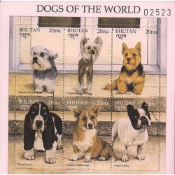 E)1997 BHUTAN, DOGS OF THE WORLD, CANES, ANIMAL, SOUVENIR SHEET OF 6, MNH