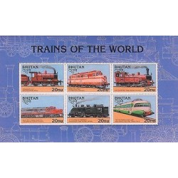 E)1996 BHUTAN, TRAINS OF THE WORLD, RAILWAYS, LOCOMOTIVES, INDIA, FINLAND, RUSS