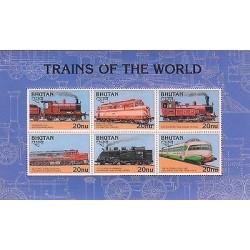E)1996 BHUTAN, TRAINS OF THE WORLD, RAILWAYS, LOCOMOTIVES, INDIA, FINLAND, RUSS