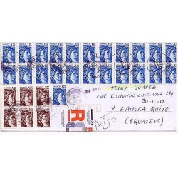 E) 2012 FRANCE, CIRCULATED COVER MULTPLE FROM FRANCE TO ECUADOR
