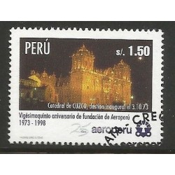 E)1998 PERU, CUZCO CATHEDRAL, 25TH ANNIV. , 1184, A526, MULTICOLORED, CTO, MNH