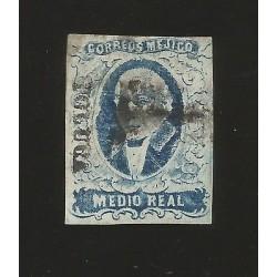 RG)1856 MEXICO, 1/2 REAL HIDALGO, PLATE II, TOLUCA, SCHTZ 1665