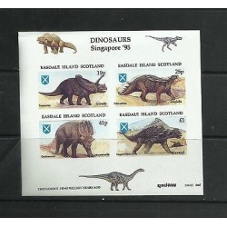 O) 1995 SINGAPORE, IMPERFORATED, DINOSAURS, TOROSAURUS, POLACANTHUS, CENTROSAURU