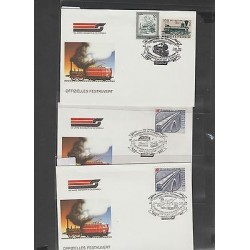 O) 1987 AUSTRIA, ELECTRIC TRAIN, STEAM TRAIN, BRIDGE, LANDSCAPE, FULL SET FDC XF