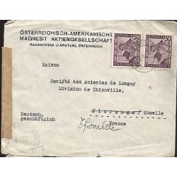 E)1953 AUSTRIA, MOUNTAIN VIOLET STAMP STRIP OF 2, CIRCULATED COVER TO FRANCE, XF