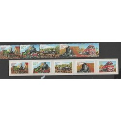 O) 2004 AUSTRALIA, TRAIN, SET STAMPS MNH, SET STICKERS- ADHESIVES XF