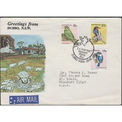 O) 1981 AUSTRALIA, SHEEP- HERD, I SHEARING SHED, FDC USED TO UNITED STATES