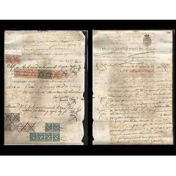 B)1858 CARIBBEAN, PAPER, REVENUE DOCUMENT, MULTIPLE, XF