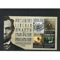 O) 2012 GHANA, PRESIDENT ABRAHAM LINCOLN-EMANCIPATION OF THE NEGROES 1863, SOUV