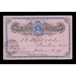 E)1896 ECUADOR, PRESIDENT VICENTE ROCAFUENTE, 39 A20, POSTCARD TO GERMANY