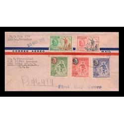 E)1948 ECUADOR, FRANKLIN D. ROOSEVELT AND TWO OF FOUR, FREEDOMS, C193-C197, AIR
