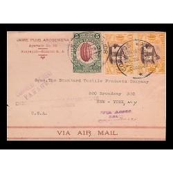 E)1933 ECUADOR, CACAO POD, 306 A115, SCENE IN QUITO, 311, A120 STRIP OF 2, AIR M