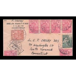 E)1925 ECUADOR, JESUSITS' CHRUCH, PAIR OF 7, FLAGSHIP OF COLUMBUS, AIR MAIL