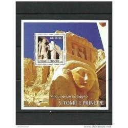 O) 2003 SAO TOME AND PRINCIPE, PHARAOH RAMSES-ARCHEOLOGY STATUES EGYPT, SOUVENI