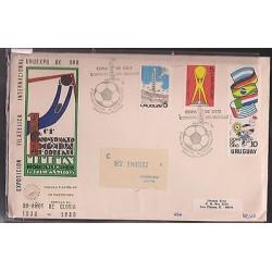O) 1980 URUGUAY, GOLD CUP - URUEXPO DE ORO, FDC USED, REGISTERED TO USA, XF