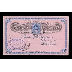 E)1898 ECUADOR, PRESIDENT VICENTE ROCAFUENTE, 39 A20, OVAL GUAYAQUIL CANCE. UPU,