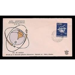 E)1956 ECUADOR, GEOPHYSICAL YEAR OF ECUADOR, PLANET, GALAXY, WORLD, SPACE, FDC
