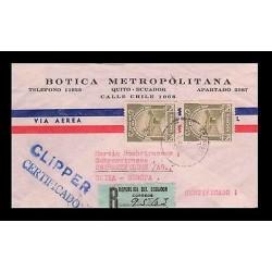 E)1952 ECUADOR, RIOBAMBA IRRIGATION CANAL, C171 A185, AIR MAIL, CLIPPER CERTIFIC
