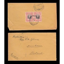 E)1910 ECUADOR, PRESIDENT URVINA, PAIR OF 2, CIRCULATED COVER TO FINLAND
