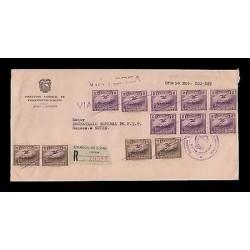 E)1954 ECUADOR, PLANE OVER CHIMBORAZO,C71 AP14 STRIP OF 8, C72 AP14 STRIP OF 4