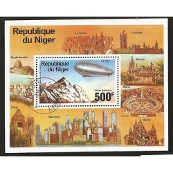 B)1976 NIGER, COUNTRIES, 75TH ANN ZEPPELIN AIRSHIPS, LZ-127 OVER LAKE CONSTANCE,