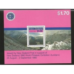 B)1988 NEW ZEALAND, MOUNTAINS, WORLD PHILATELIC EXHIBITION AUCKLAND, ROUTEBURN