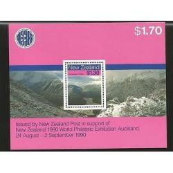 B)1988 NEW ZEALAND, MOUNTAINS, WORLD PHILATELIC EXHIBITION AUCKLAND, ROUTEBURN