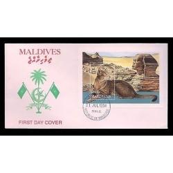 E)1994 MALDIVES, CAT, PYRAMIDS, EGYPT, LANDSCAPE, FDC