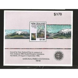 B)1987 NEW ZEALAND, PAINTING, MOUNTAINS, NATIONAL PARKS SYSTEM, 1990 WORLD PHIL
